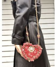 Vintage Mary Frances small avantgarde box heart shaped bag with flowers