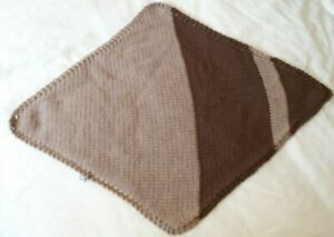 Hand knitted with love Diamond Dog Blanket, brown and beige, acrylic yarn.
