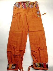 Cotton Contrast Border Pants Hippy Trousers handmade in nepal money belt orange