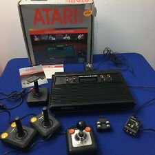 Atari 2600 Console Black Original Box Tac-2 Gemstik 2 Controllers & Cords Bundle