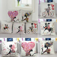 "18"" Flower Linen Cotton Girl Cushion Cover Throw Pillow Case Home Sofa Car Decor"