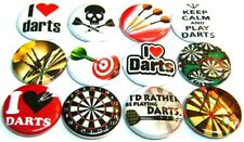 "12 I LOVE DARTS - 1"" FRIDGE MAGNETS SET - One In Throwing Game Bar Sport"