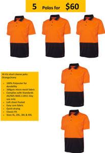 Hi-Viz short sleeve polo: Orange/navy AS/NZS 4602.1:2011