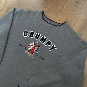 Vintage DISNEY GRUMPY Spell Out Embroidered Sweatshirt Jumper Sweater - Large L