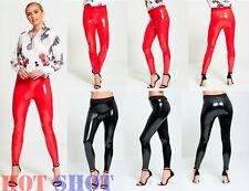Women PU Vinyl Pants Ladies Casual High Waist Leggings Stretch Pencil Trousers