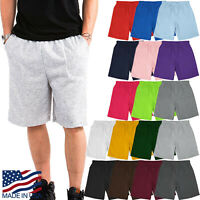 Mens Fleece Sweat Shorts Brushed Lightweight Joggers Pants S 5XL Side Pockets