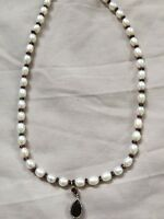 Pearl And Garnet Silver Necklace Stunning
