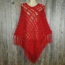 Red Crochet Handmade Poncho Sweater Fringed Soft Women's Boho Hippie New