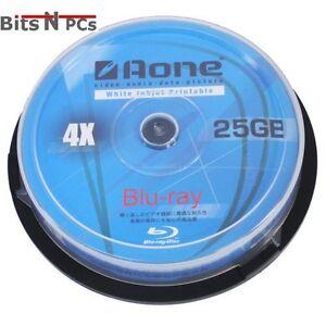 20 x Aone BD-R Blu-Ray 4x White Inkjet Printable Discs - 25GB