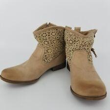 Roxy Womens Beige Malden Crochet Canvas Tan Zipper Ankle Boots B0pgPLdf- Size 10