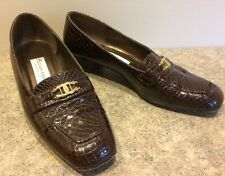 Etienne Aigner Brown Faux Croc Leather Women's 9 M VALENTINE Slip On Loafer