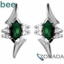 Emerald And Diamond 9ct 9k Solid White Gold Earrings W54720/G
