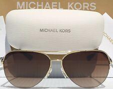 NEW* MICHAEL KORS AVIATOR Tortoise GOLD w Brown MK5008 SPERONE Rimless Sunglass
