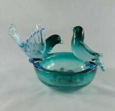 Italian Murano Glass Bird, Nest, Eggs, Bowl Sculpture, Blue, Turquoise, Gold