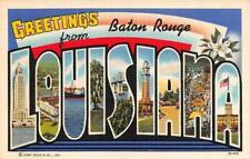 LA, Louisiana   BATON ROUGE  Large Letter   c1940's Curtiech Linen Postcard