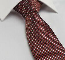 Classic Red Tie NEW Silk Solid Geometric Silver Black Premium Essential cl26