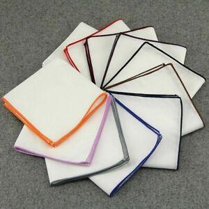 Men White 100% Pure Cotton Pocket Square Handkerchief Hankie Wedding Suit