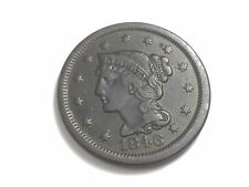 1846 Braided Hair Large Cent, N-17, Small Date
