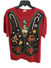 Ugly Christmas Sweater Vest T-Shirt - Funny Christmas Party Tee - Adult Large