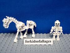 Lego Skeleton & Skeletal Horse Minifigures White Skull Halloween Castle Fantasy+