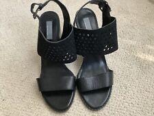 GRAY SAKS FIFTH AVENUE Black sling back Laser Cut Block heel Sandals sz 8