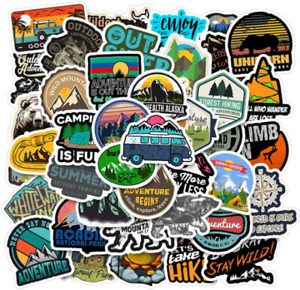 50pcs Adventure Nature Stickers Outdoors Hiking Camping Travel Wilderness Sticke