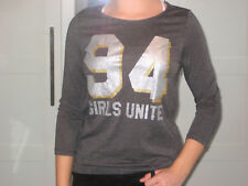H&M College Shirt grau silber 3/4 Arm Gr. 164 170 GLITZER neuwertig