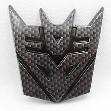 Car Transformers Decepticon Black Carbon Fiber Motorcycle Badge Emblem Sticker