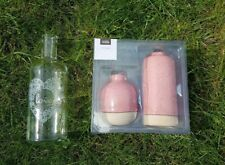New Set Of 2 Different Shape Pink Base Ceramic Vases & beautiful love bottle.