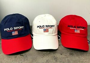 NEW Polo Ralph Lauren Mens Hat Polo Sport Flag Chino Baseball Cap White,Red,Navy