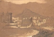 Antique FrenchDrawing, Gulf of Naples, Italy, Castel Nuovo,Grand Tour