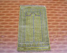 2x3 Striped Design Door Mat Gold Colour Silk Small Oriental Carpet Geometric