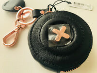 Mimco Daydream Keyring Key Ring Coin Pouch Black Leather RRP $90