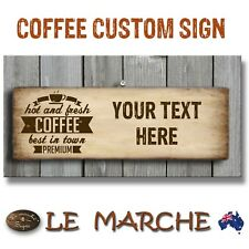 ♨️ Custom Text COFFEE CAFE SHOP Wooden Rustic Plaque / Sign (FREE POST) ♨️