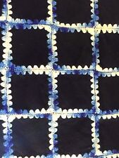 Vtg All Wool Antique AFGHAN Blanket Throw Navy Blue Wool Squares White Crocheted