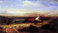 "Oil painting Albert Bierstadt - The Last of the Buffalo horsemen with cows 36"""