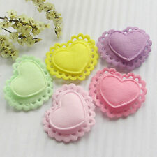 50PCS Two Layers Hearts Padded Felt  Appliques Craft Lots A0409