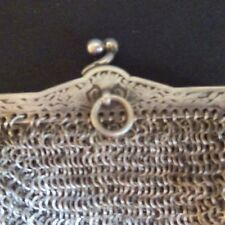 Vintage Sterling Mesh Bag Art Nouveau French Necklace Chatelaine Purse Antique