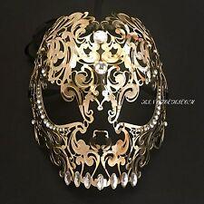 Gold Evil Skull Light Metal Laser Cut Diamond Venetian Masquerade Mask