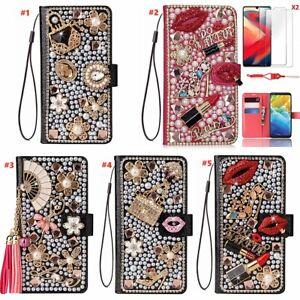 for LG Velvet/V60/K51/Stylo 6/Wing 5G/K22 Bling Wallet Leather Women Phone Case