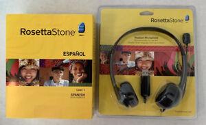 Rosetta Stone level one version three Spanish set W/ microphone headset Both New