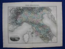 Original antique map NORTHERN ITALY, TURIN, 'ITALIE SEPTENTRIONALE' Migeon, 1891