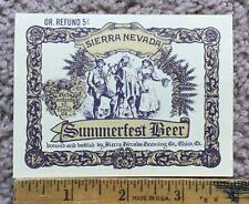 Vintage Summerfest Beer Label Sierra Nevada Brewing Company Micro Craft Beer