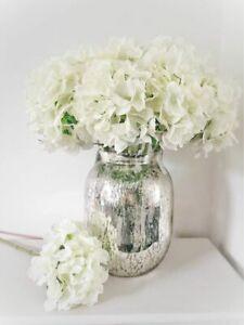 Ivory Hydrangea Artificial Flowers Silk Bouquet Wedding Decor Party Home Fake