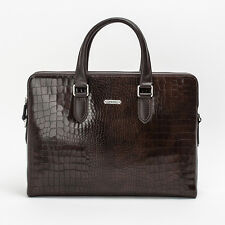 Prima Mela Genuine Leather Laptop Briefcase Handbag  Crocodile Pattern