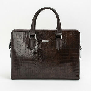 Prima Mela Genuine Leather Laptop Briefcase Handbag  Crocodile Pattern