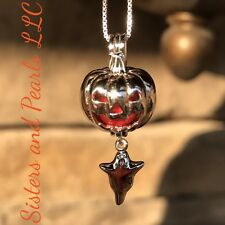 Halloween Pumpkin & Ghost Sterling Silver Cage Pendant Pearl Akoya Oyster USA