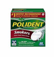 Polident Fumadores Antibacteriano Denture Limpiador, 40 Tabletas (Pack de Dos)