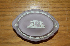 Vintage Wedgwood Lilac Jasper Ware Cupids Oval Trinket Cupids Box with Cover