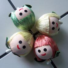 4 Unusual Vtg Paper Mache Styrofoam Straw Hair Pixie Head Ornaments Rare!